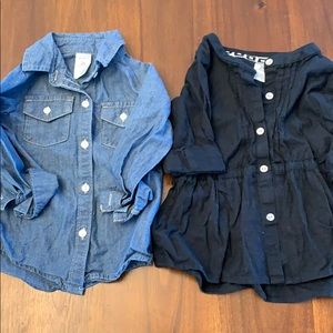 Carters button downs one jean and one black